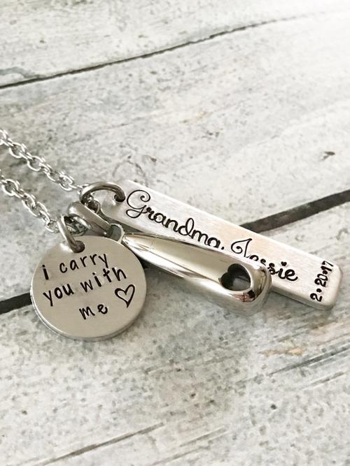 Urn necklace - Hand stamped necklace - Memorial