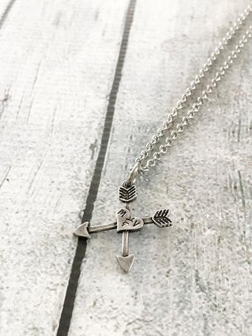 Arrow necklace - Heart and arrow necklace -