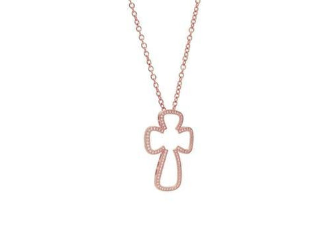 Small Sparkling Open Rose Cross Pendant Necklace,