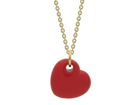18k Gold Plated Red Enamel Puffy Heart Necklace,