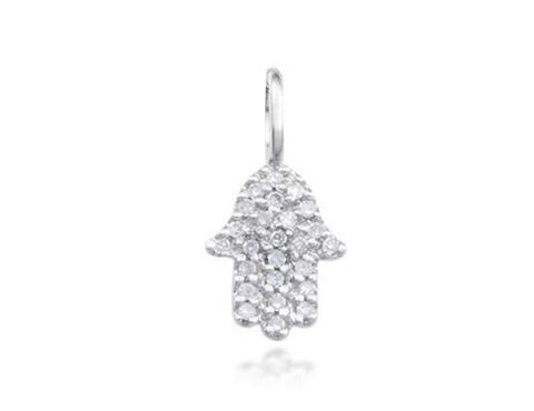 14k White Gold Mini Diamond Hamsa Pendant