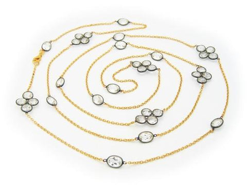 White Topaz Connector Necklace, 42""