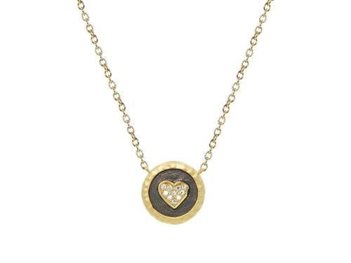 Vermeil Studded Heart Disc Pendant Necklace, 15.5""