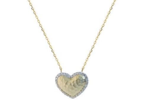 Sparkling CZ Hammered Golden Heart Necklace in