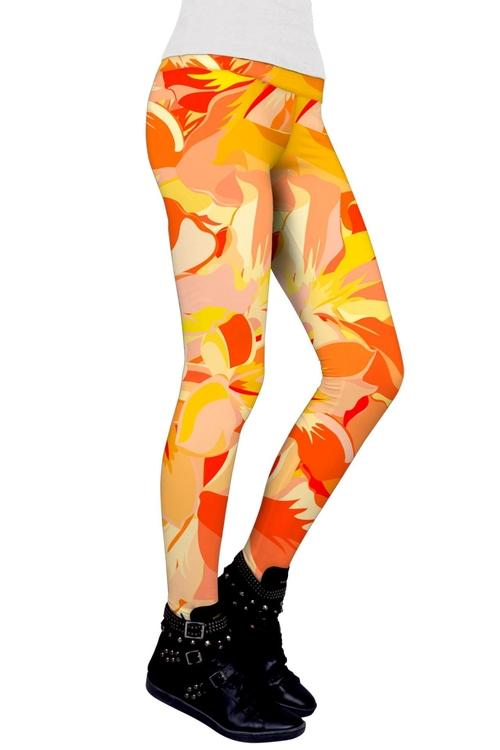 Flaming Hibiscus Lucy Yellow Performance Leggings