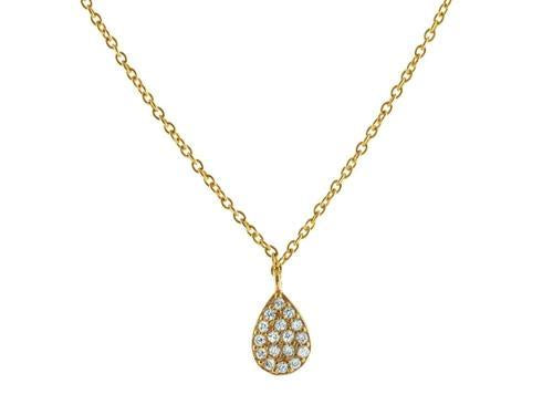 Vermeil Brilliant CZ Rain Drop Necklace, 15.5""