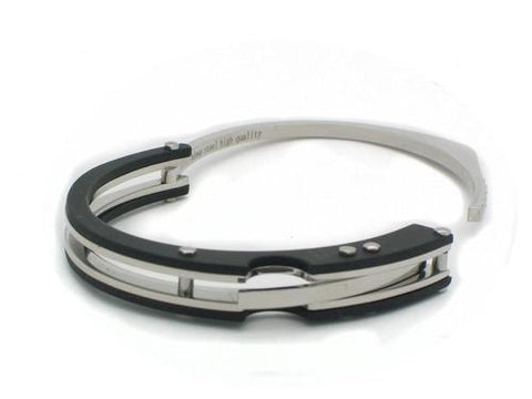 Beitzim Mens Black Stainless Steel Bracelet