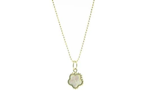 Mother of Pearl Flower Necklace in Gold Plated