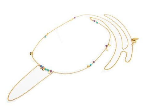 Bolo Necklace: Turquoise and Amethyst Stones in