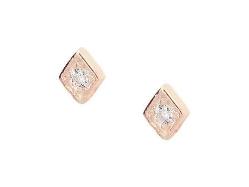 Tiny Brilliant Stone Stud Earrings (Rose)
