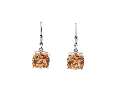 Orange Citrine CZ French Clasp Earrings: 925