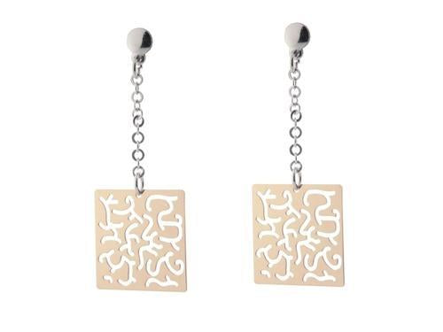 Sterling Silver Rose Gold Plated Dangling Earring