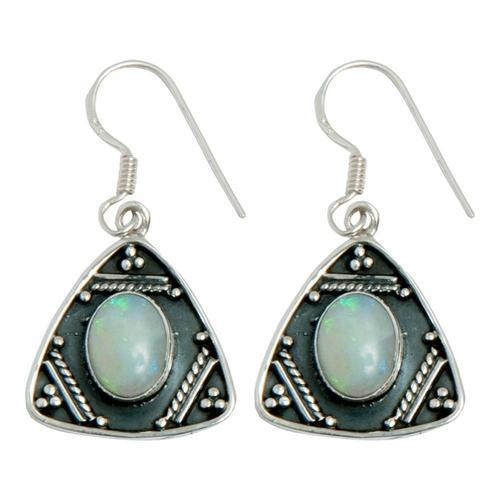 Sterling Silver Tribal Gemstone Earrings