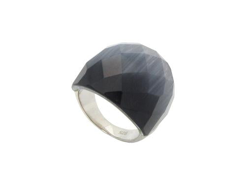 Black Cat Eye Statement Ring | Sterling Silver by