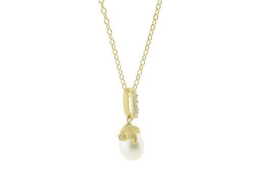 Vermeil Rice Pearl Flower Pendant Necklace, 16""