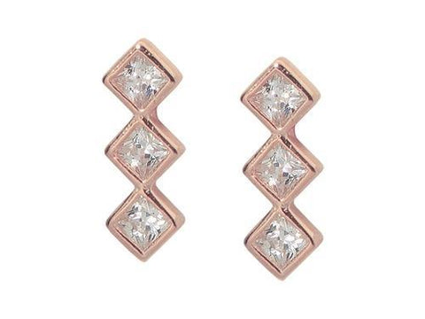 Sterling Silver Pink Rhodium Plated Trio CZ