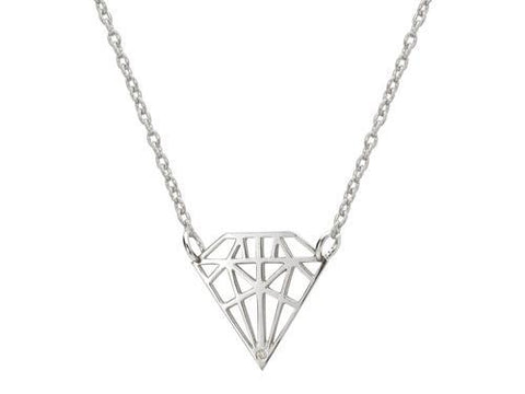 925 Sterling Silver Necklace  Diamond Shaped