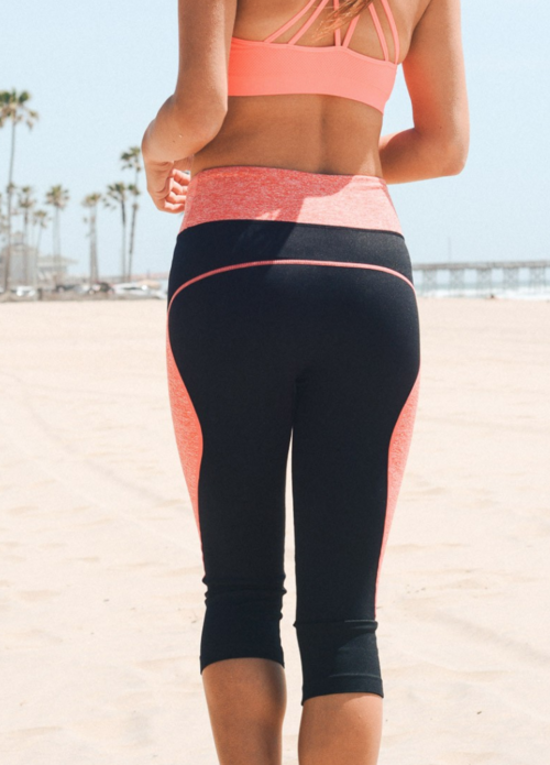 Sexy Coral Capri Yoga Leggings