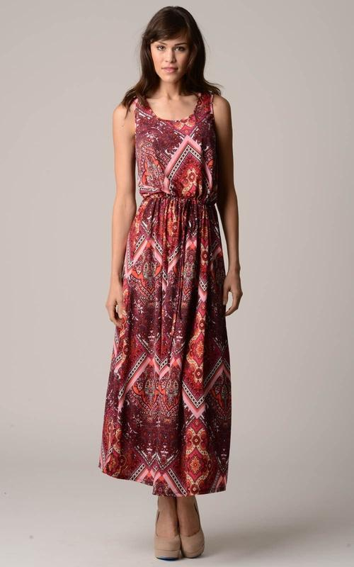 Women's Printed Tie Waist Maxi Tank Dress