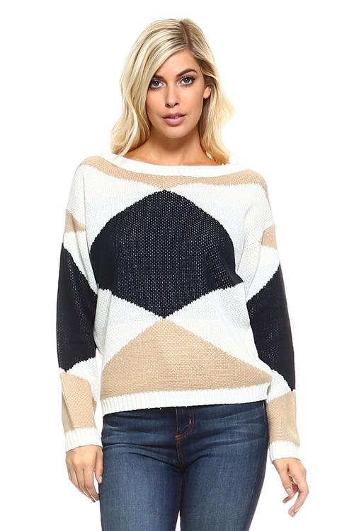 Women's Knit Long Sleeved Sweater with Geometric