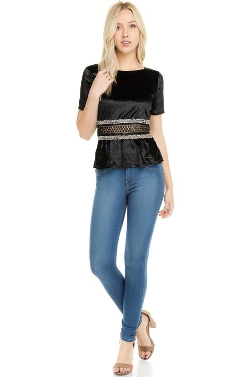 Women's Velvet Crochet Chain Zipper T-Shirt