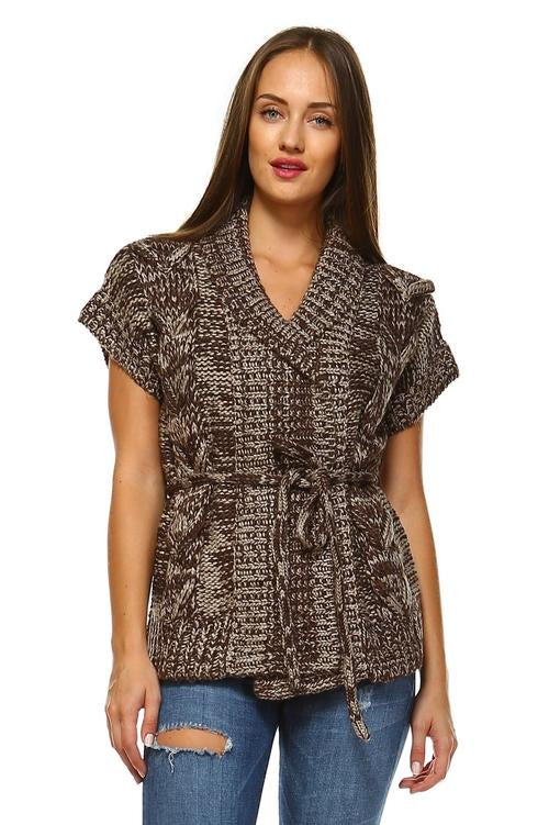 Women's Short Sleeve Front Tie Cardigan