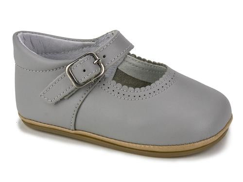 Patucos Soft Leather Mary Janes Grey Shoes for