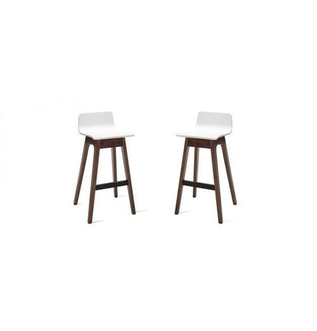 Ava Low Back Bar Stool - Walnut & White | GFURN