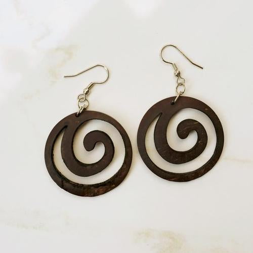 Swirl Natural Wood Earrings