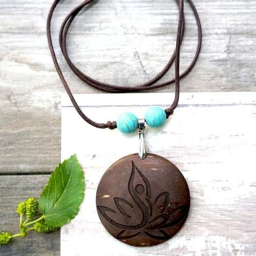 Yoga Lotus Pendant Necklace
