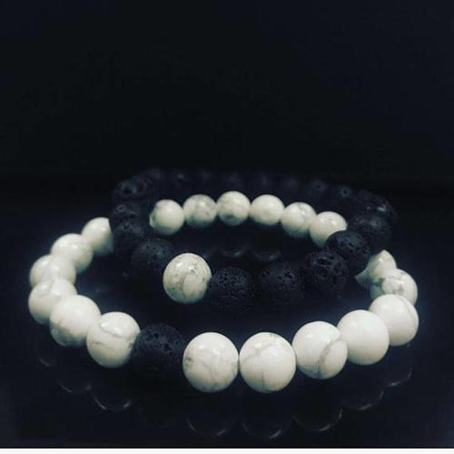 Ying yang matching couples bracelet set