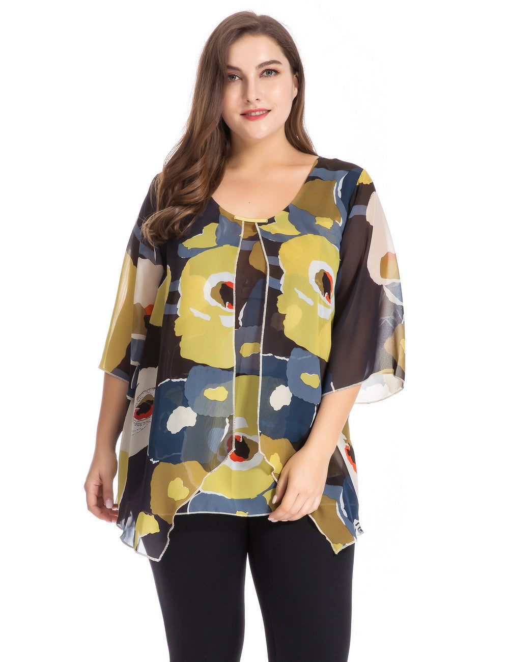 Chicwe Women's Plus Size Floral Printed Top Blouse with Metal Trim and Bell Sleeves 1X-4X
