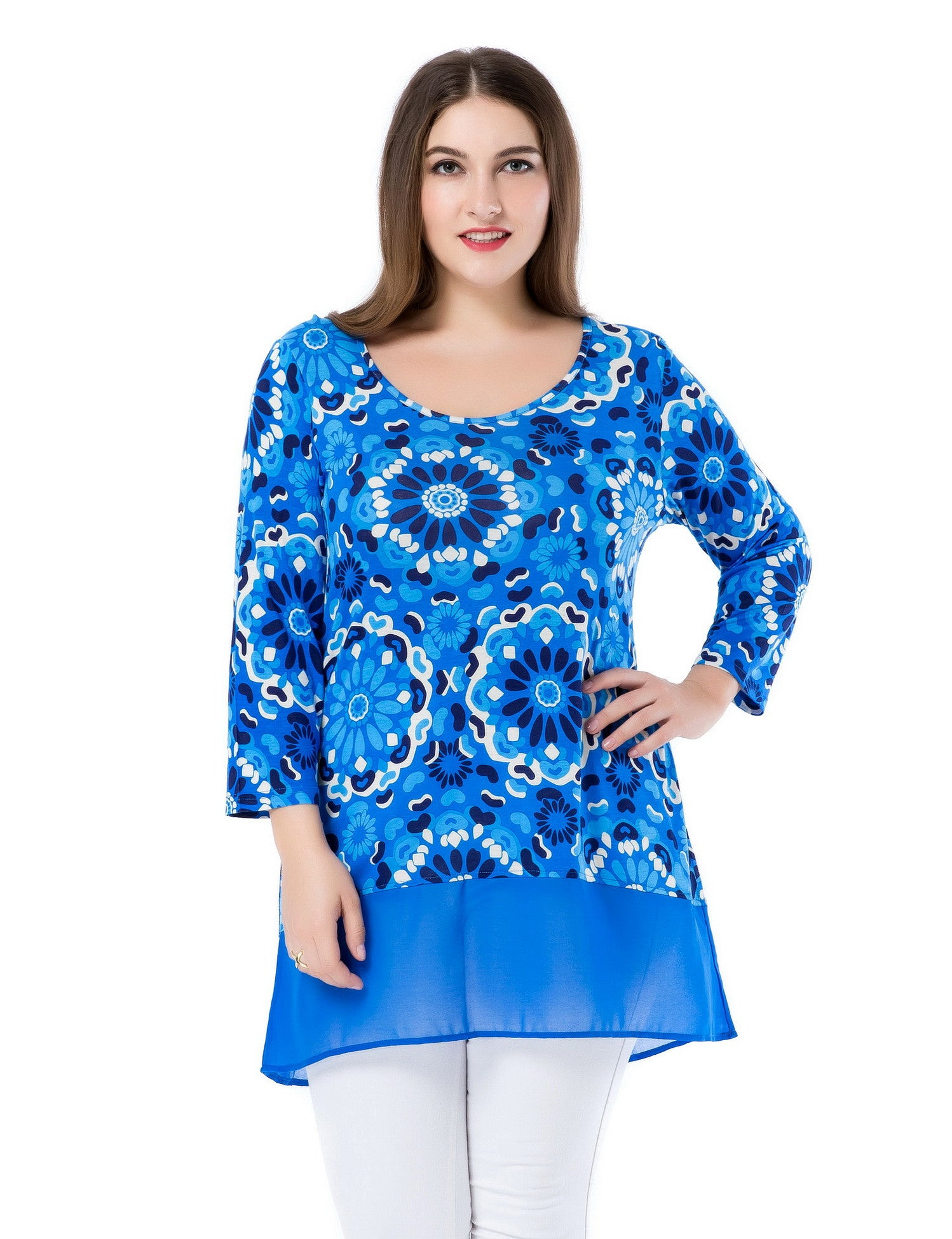 Chicwe Women's Plus Size Floral Printed Tunic Top with Chiffon Hem US16-26
