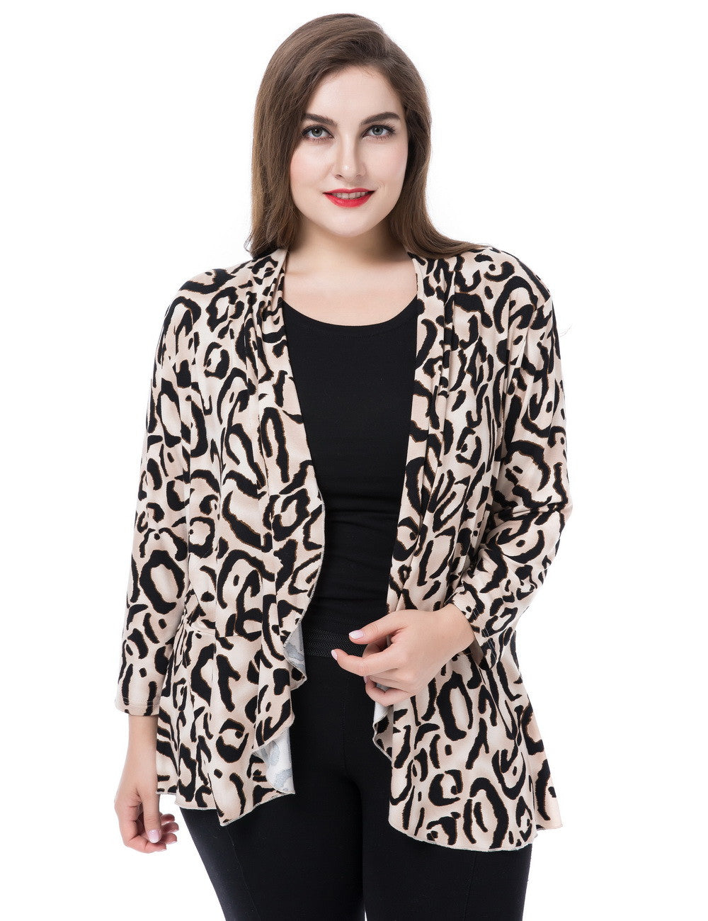 Chicwe Women's Waterfall Open Front Plus Size Printed Casual Cardigan Jacket
