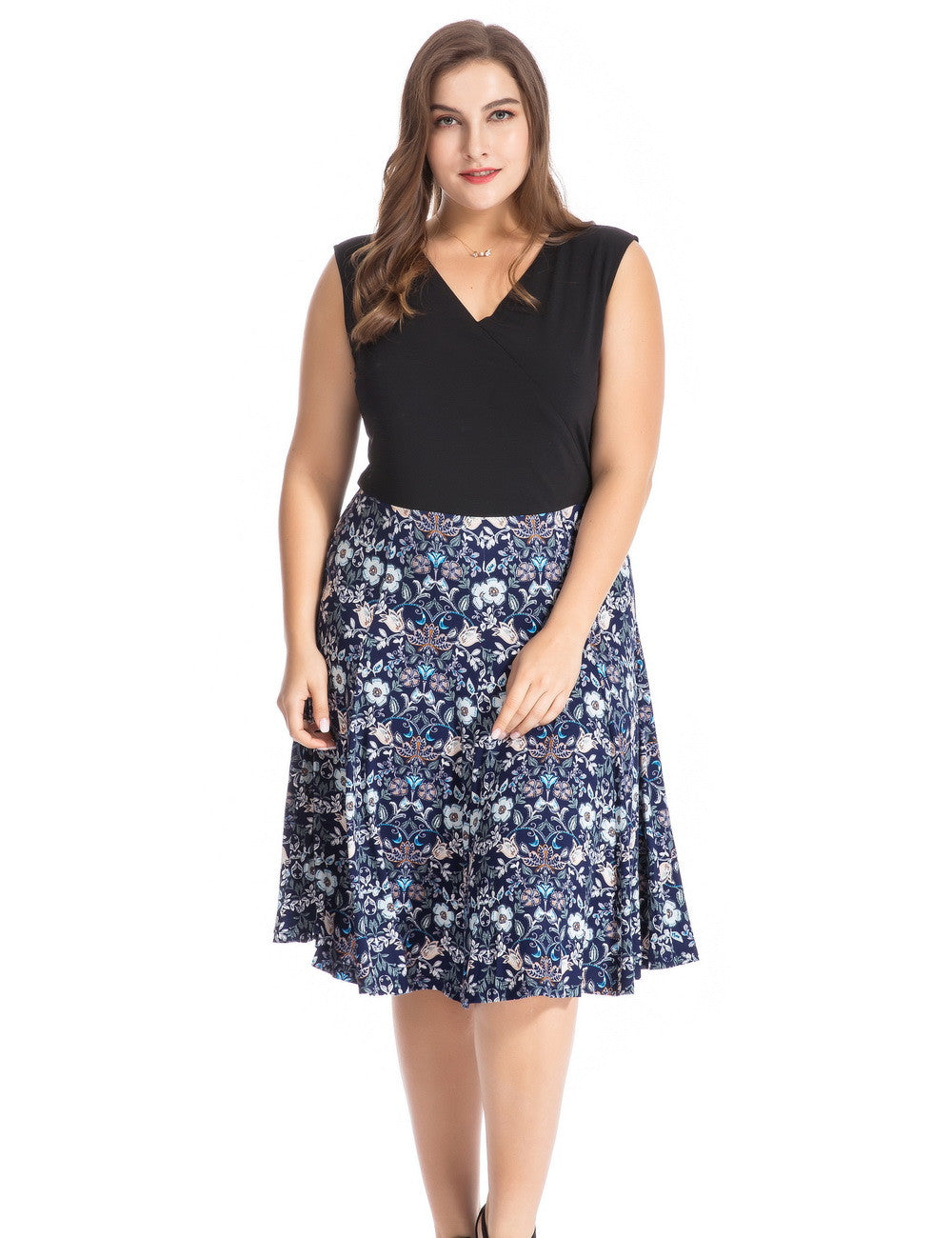 Chicwe Women's Plus Size Floral Printed Skater Dress 1X-4X