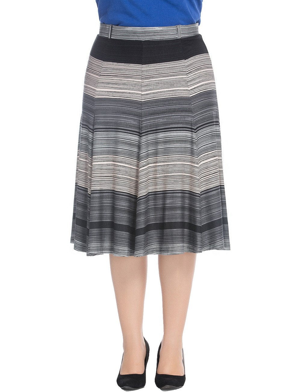 Chicwe Women's Plus Size A-Line Flared Skirt Knee-Long with Stretch Waistband US16-26