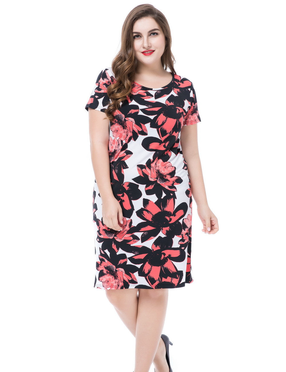 Chicwe Women's Plus Size Floral Printed Dress Round Neck Short Sleeves US16-26