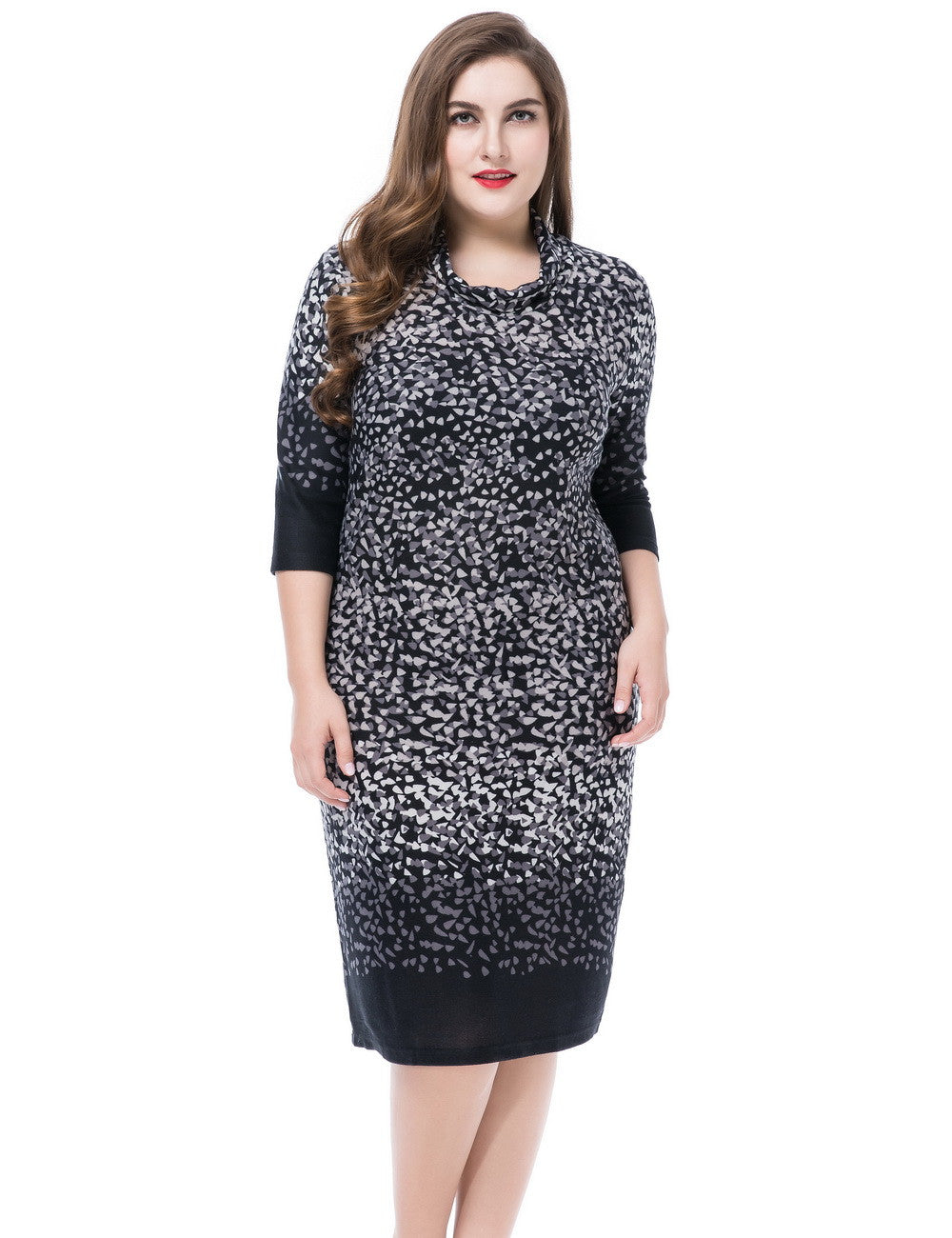 Chicwe Women's Cashmere Touch Plus Size Printed Dress Cowl Neck US16-26