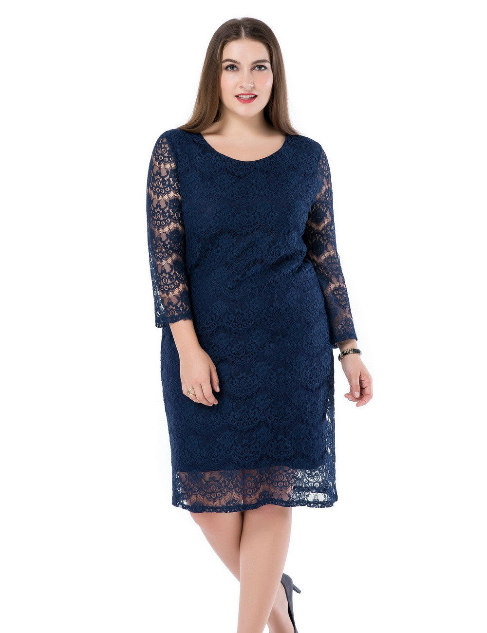 Chicwe Women's Lined Plus Size Lace Dress 3/4 Sleeves US16-26
