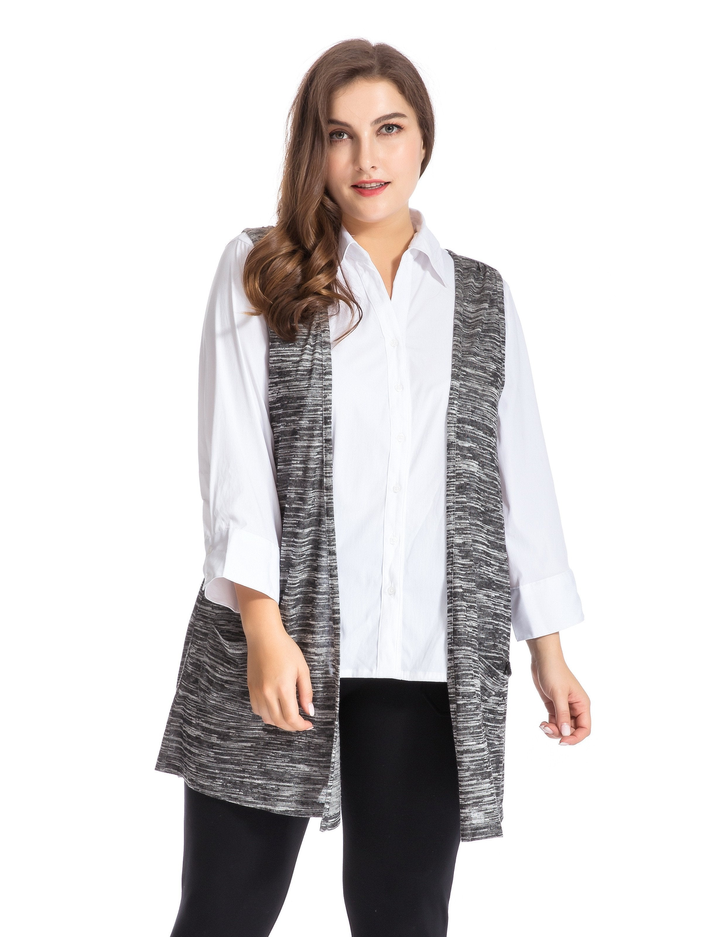 Chicwe Women's Plus Size Melange Knit Vest Cardigan Style with Pockets US16-26
