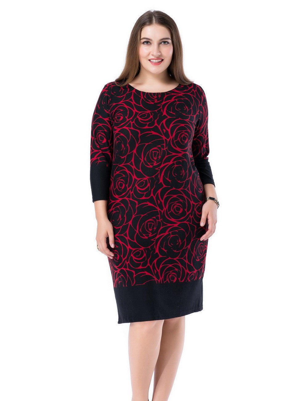 Chicwe Women's Plus Size Printed Shift Dress Cashmere Touch US12-28
