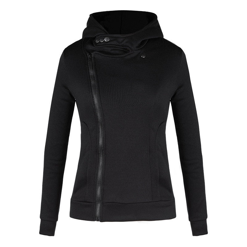 Spring Women's Black Velvet Thicken Hooded Sweatshirt Inclined Zipper Outwear Plus Size Long Sleeve Hoodie Coat
