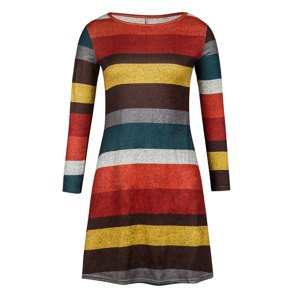 Spring Women Pullover Elegant Dress Casual Long Sleeve Striped Dresses Girls Plus Size Mini Dress