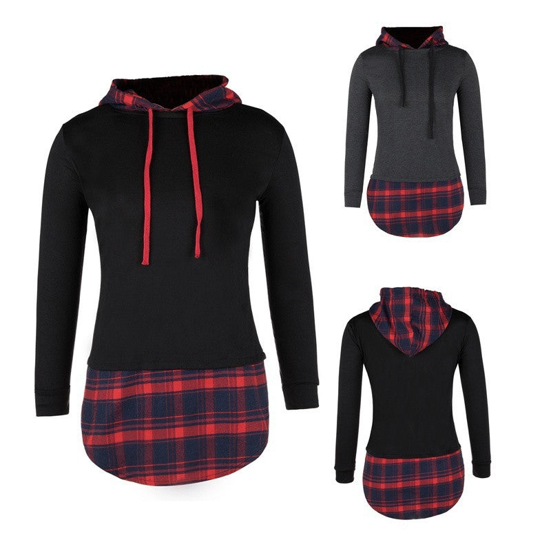 Women Plaid Hoodies Sweatshirt Spring Long Sleeve Hooded Tops Casual Girls Plus Size Pullover Blouse