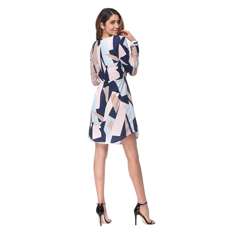 Women Elegant V-neck Sexy Dress Spring Print Long Sleeve Girls Evening Party Dresses