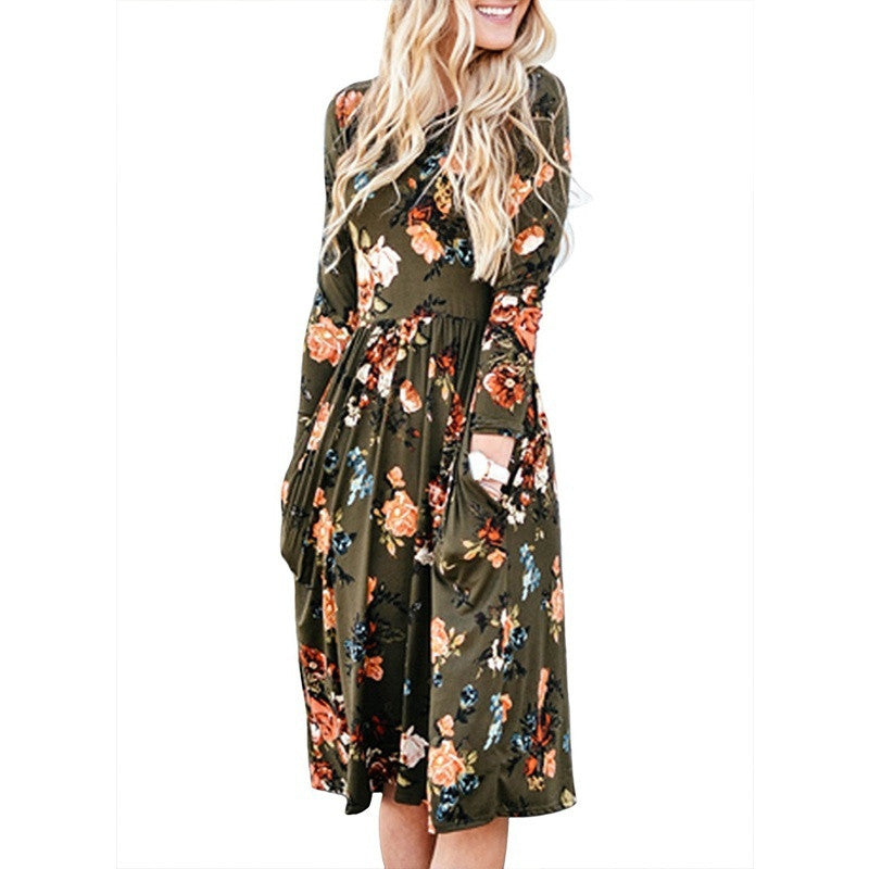 Women Boho Floral Print Dress Spring Casual Cocktail Long Sleeve O-neck Loose Vestidos Knee Length Dress