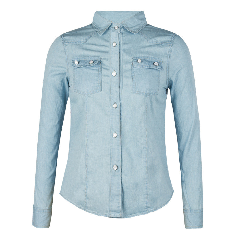 Spring Denim Dress Shirt Blouse Women Long Sleeved Polo Shirts Casual Button-up Tops