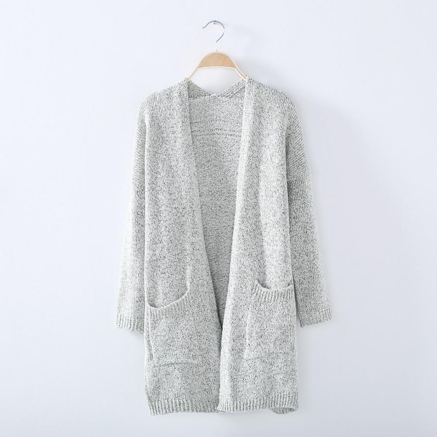 Womens Oversize Long Sleeve Knitted Sweater Loose Cardigan Outwear Casual Kimono Cardigans Coat with Pocket