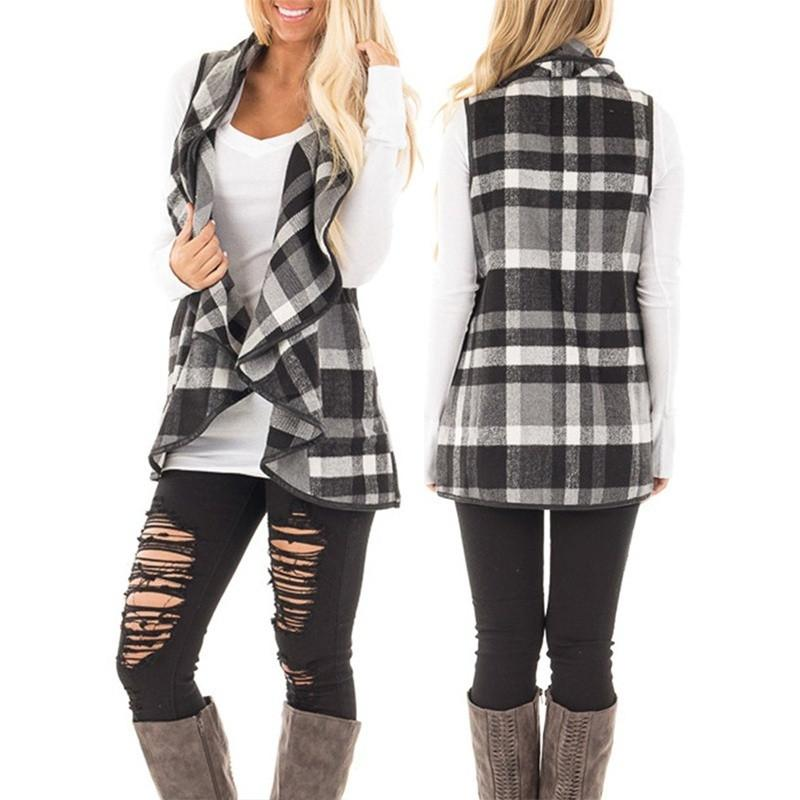 Women Lapel Plaid Vest Cardigan Sleeveless Pocket Cardigans Coat Girls Casual Jackets