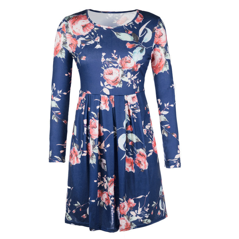 Floral Printed Mini Dresses Women Long Sleeve Dress Casual Spring Oversize Knee-length Sundress for Girls